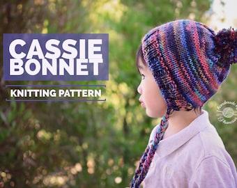 Knit Cassie Bonnet PATTERN | Knit Pattern | Bonnet Hat | Knit Beanie | Knit Hat | Split Brim Hat | Instant Download
