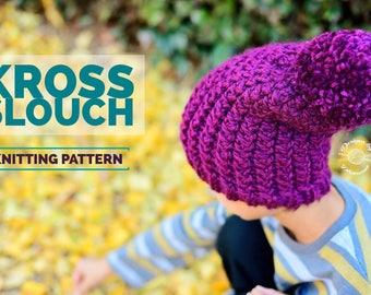 Knit Kross Slouch Beanie PATTERN | Knit Pattern | Knitting Pattern | Knit Hat Pattern | Instant Download Pattern