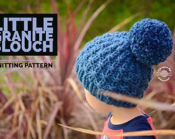 Knit Little Granite Slouch Beanie PATTERN | Knit Pattern | Knitting Pattern | Knit Hat Pattern | Instant Download Pattern