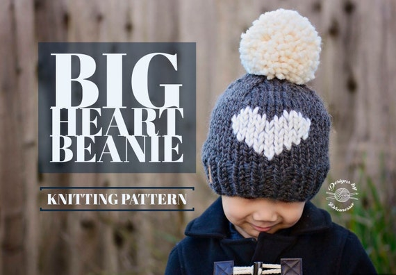 KNIT BIG heart Beanie PATTERN Knitting Pattern Heart Hat  3a282ad76a6