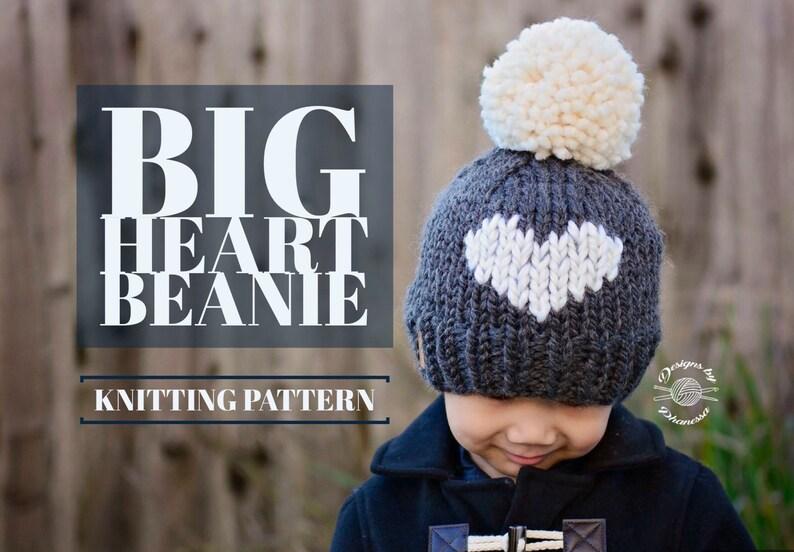 KNIT BIG heart Beanie PATTERN Knitting Pattern Heart Hat  807714ae3c9
