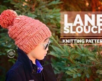 Knit Lane Slouch Beanie PATTERN | Knit Pattern | Knitting Pattern | Knit Hat Pattern | Instant Download Pattern
