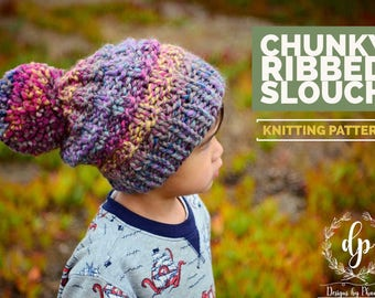 Knit Ribbed Slouch Beanie PATTERN | Knit Pattern | Knitting Pattern | Knit Hat Pattern | Instant Download Pattern