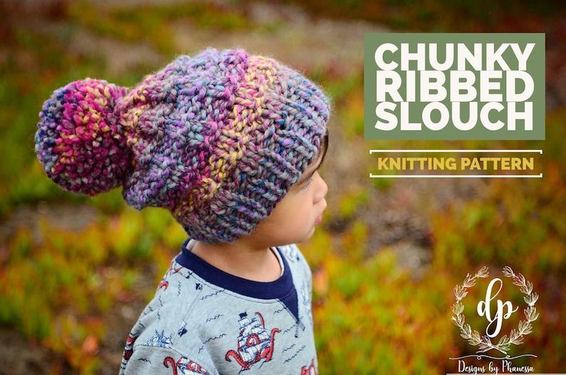 11984fa0dc2 Knit Ribbed Slouch Beanie PATTERN Knit Pattern Knitting