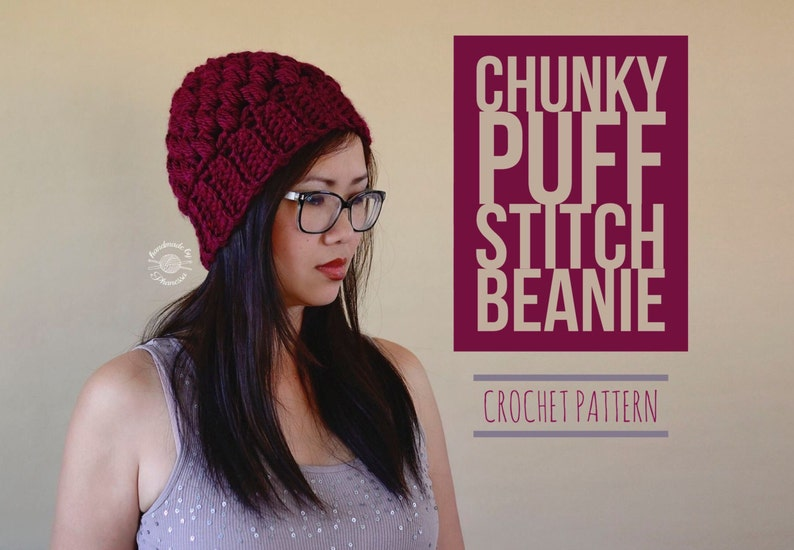 fb6d8c37ced Crochet Chunky Puff Stitch Beanie PATTERN with Ponytail Messy