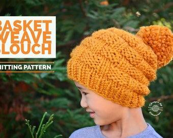 Knit Basket Weave Slouch Beanie PATTERN | Knit Pattern | Knitting Pattern | Knit Hat Pattern | Instant Download Pattern