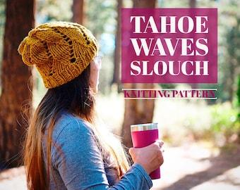 Knit Tahoe Waves Slouch Beanie PATTERN | Knit Pattern | Knitting Pattern | Knit Hat Pattern | Instant Download Pattern