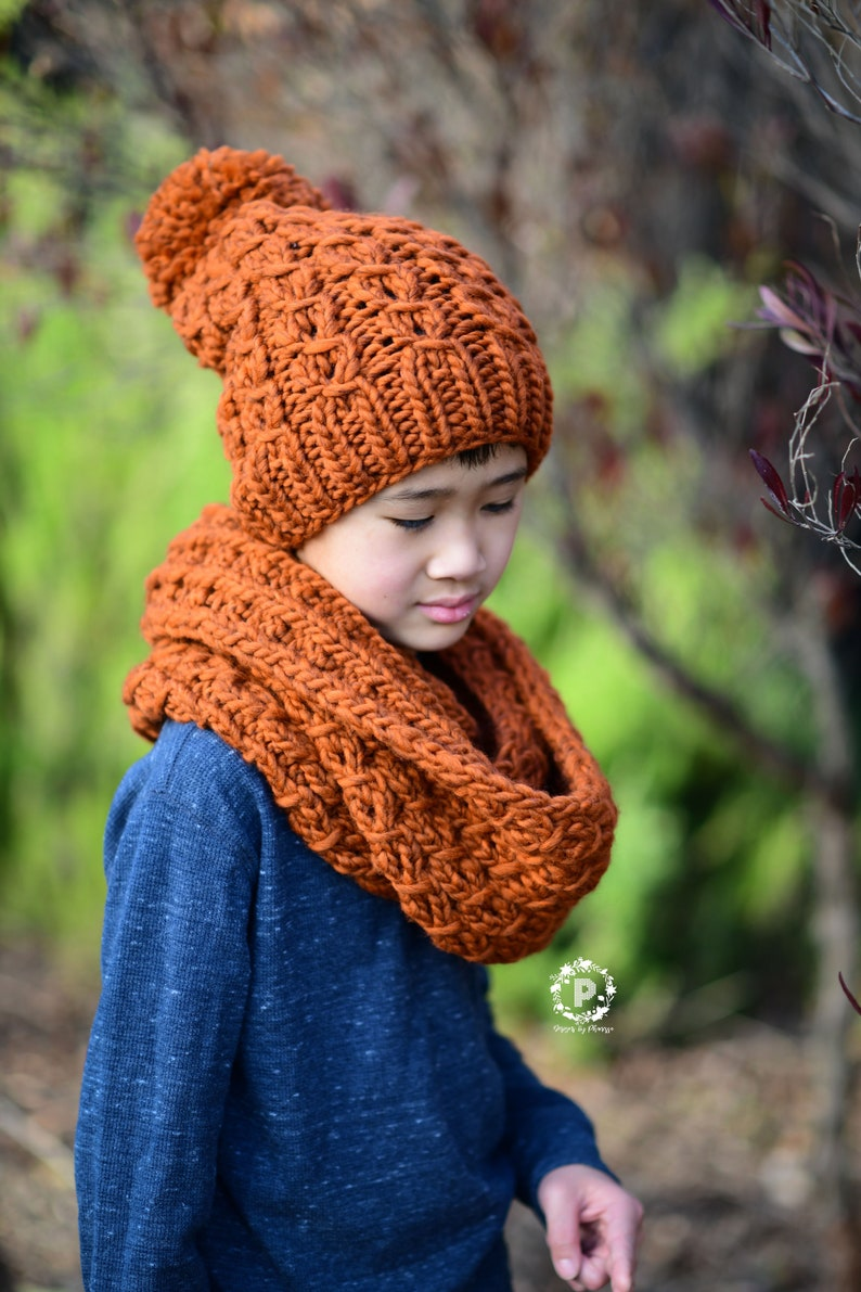 Knit Burly Slouch Beanie Infinity Scarf Pattern Knit Etsy