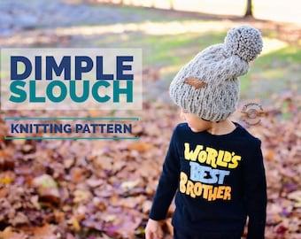 Knit Dimple Slouch Beanie PATTERN | Knit Pattern | Knitting Pattern | Knit Hat Pattern | Instant Download Pattern