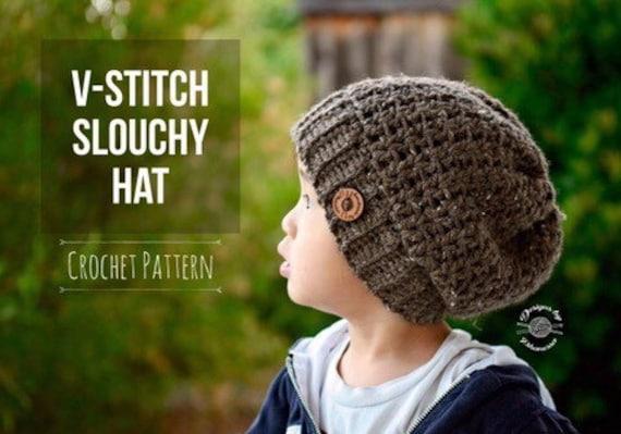 Crochet V-Stitch Slouchy Hat PATTERN Hat PATTERN Crochet  8c8d0f0b9e3