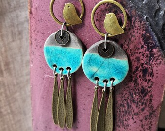 bronze and ceramic leaf earrings nature-inspired jewellery MANNAKANI pale yellow long yellow raku earrings