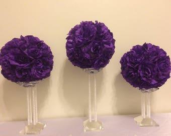 Wedding flower balls etsy four 8 kissing balls pomander ball flower ball rose ball wedding flowers wedding centerpieces purple wedding ball centerpieces mightylinksfo