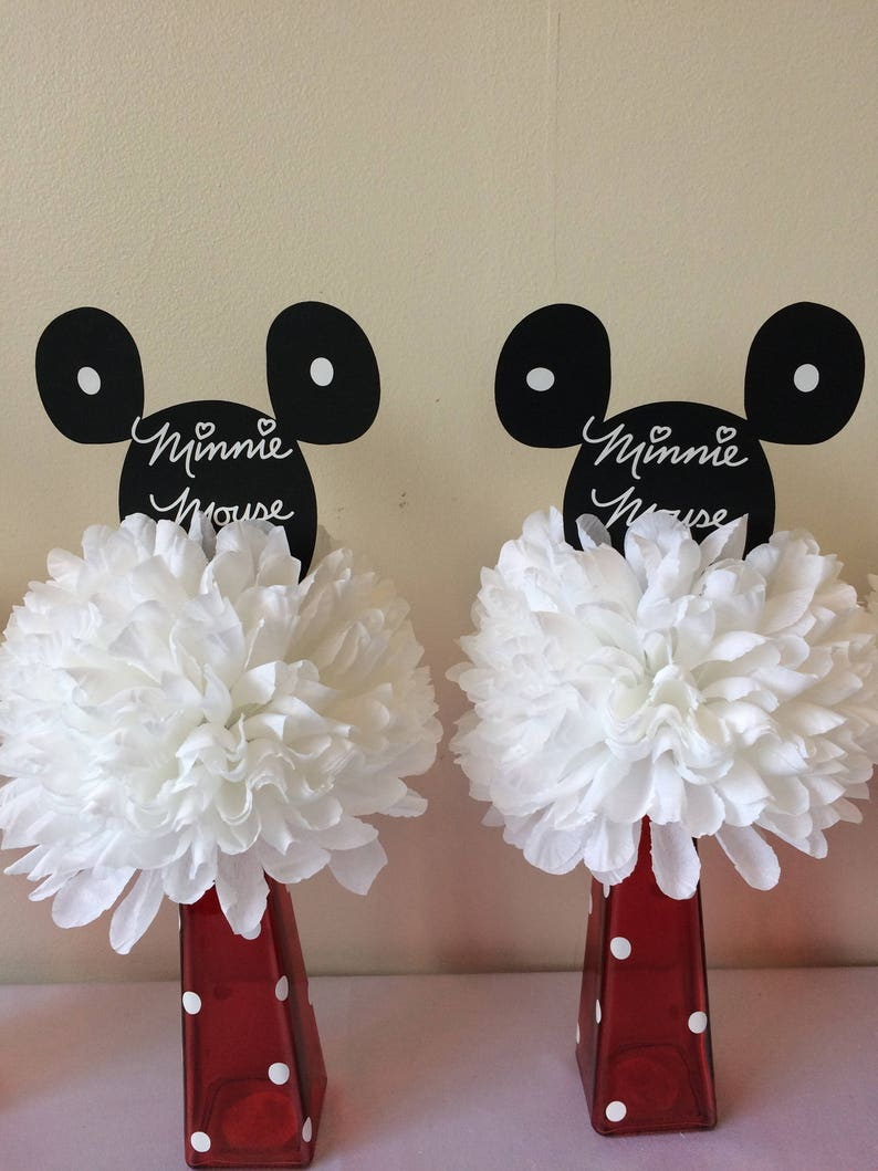Minnie Mouse Baby Shower Centerpiece Red Minnie Mouse Birthday Etsy