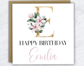 Personalised Initial Birthday Card, Monogram Card, Birthday Card, Card for Her, Female Birthday Card, Womens Birthday Card