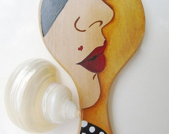 Hand Mirror, Wood Hand Mirror, Xmas Gifts, Vanity Mirror, Handpainted Wooden Hand Mirror, Hand Ηeld Μirror, Gift for Women, FREE SHIPPING