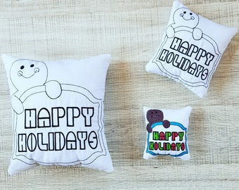 Gingerbread Greeting Colour-In Stuffie ITH Embroidery Pattern
