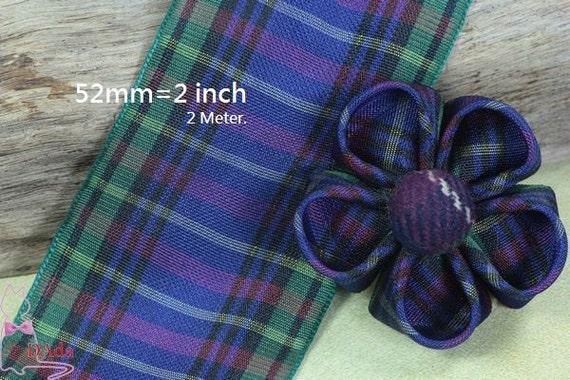"School Gingham Purple 2/""  50mm Grosgrain Ribbon"