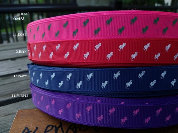 """Printed Grosgrain Ribbon 7//8/"""" 22mm By the Metre #4120 Pink Horse"""