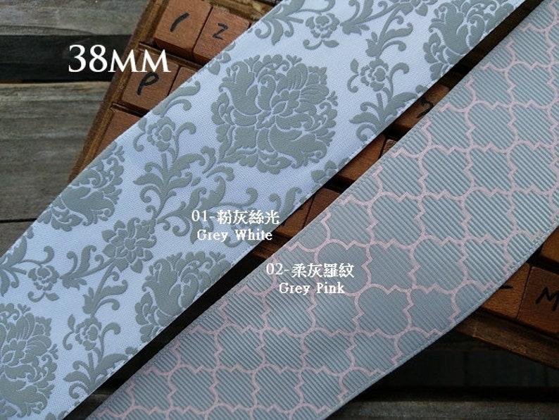 Grey White and Gray Pink Grosgrain Ribbon, Print Satin Ribbon (Choose  Color) 38mm(1 5