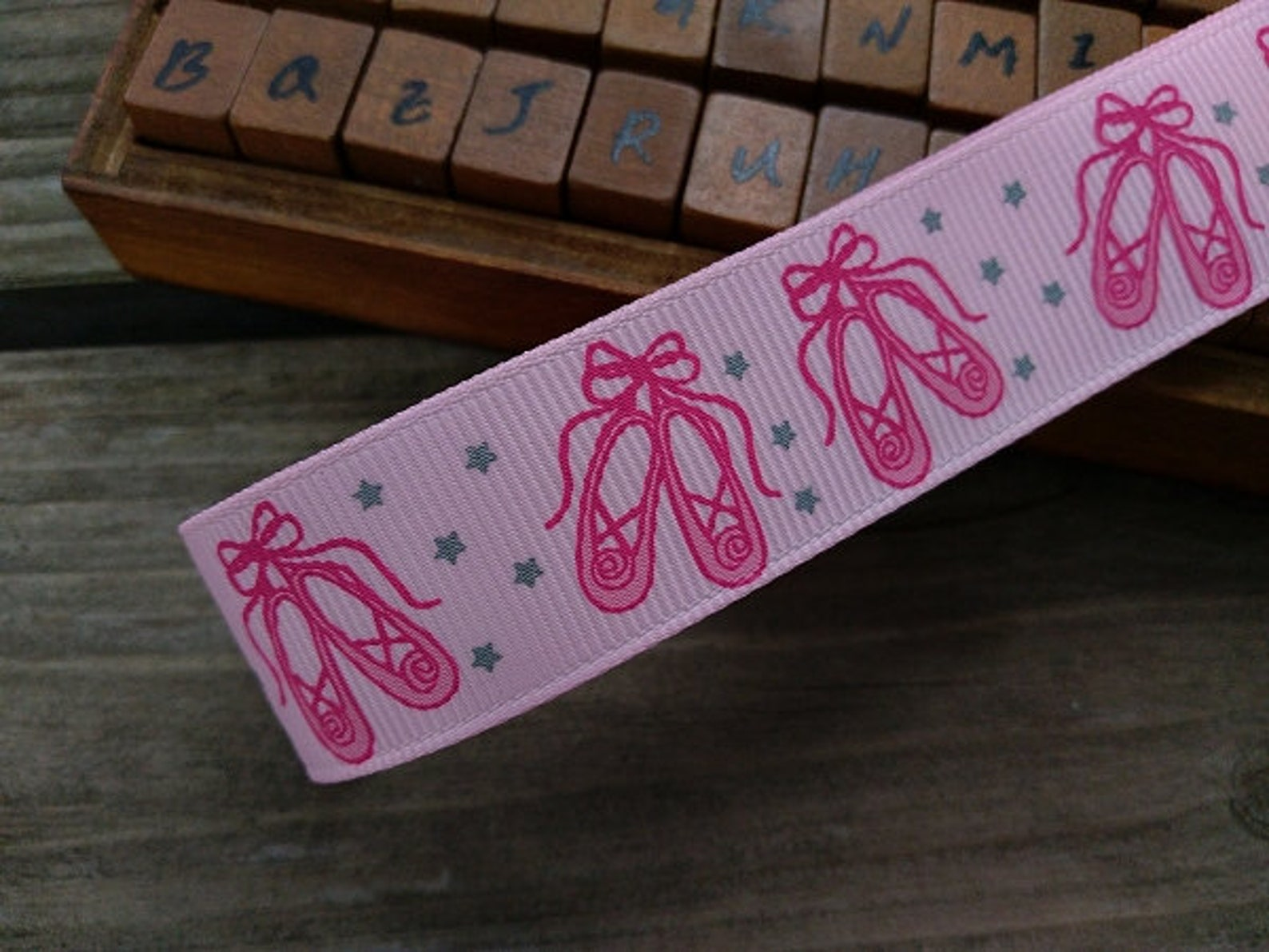 princess,ballet shoes,silver star printed grosgrain ribbon,(choose color)22mm(0.88