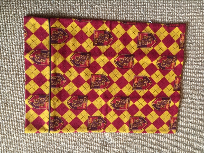 Harry Potter Hogwarts House Crests Gryffindor Scarlet and Gold Flannel Travel Size Pillowcase w Brown Piping Trim 16x12 Handmade