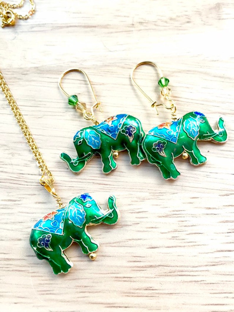 Elephant Necklace And Earrings Jewellery & Watches Costume Jewellery