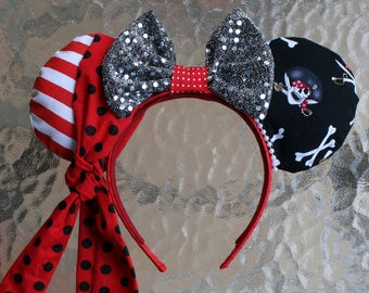 Pirate Minnie Mouse Ears with Dark Silver Bow
