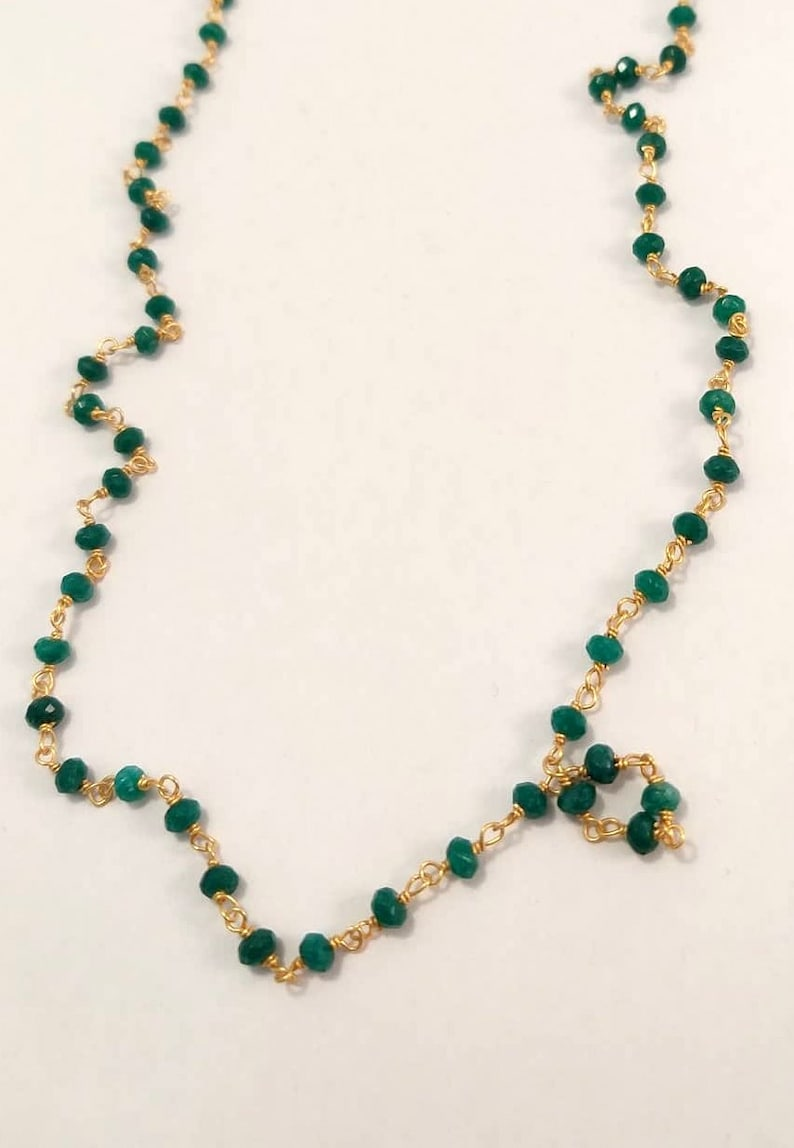 Tiny Gemstone Necklace Green Bead Necklace Smaragdite Beads Chain Long Rosary Necklace Green Beaded Chain Necklace Gift For Mother