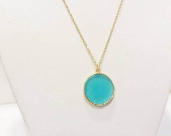 Blue Stone Necklace / Chalcedony Pendant / Stone Necklace / Gemstone Pendant / Women Charm Necklace Gift / Sterling Silver / Gold Plated