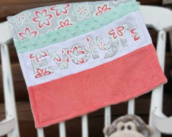 Personalized Minky Baby Take-Along Blanket -Gray, Coral, and Aqua Blanket -Striped Minky Blanket -Girl Baby Blanket -Baby Shower Gift