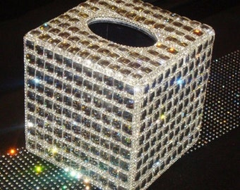 Bling Bling Rhinestone Princess Cut Crystal Decorated Organizer Square Small Tissue Holder Box  (Large Crystal)