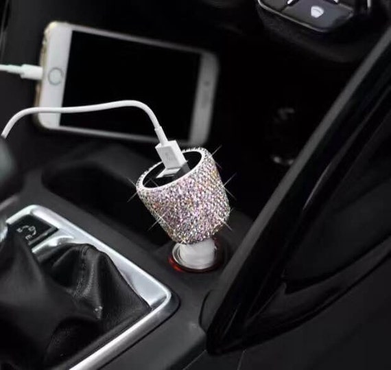 Bling diamond Rhinestone Dual USB Car Charger Designed for Apple samsung LG SONY