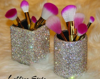 Beautiful Vanity Super Sparkle Bling Make Up Brush, Hair Brush, Cosmetic Holder Organizer Combo SET for Office, Shop, Bedroom or Bathroom