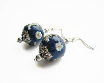 Earrings pearls Indonesian artisan ceramics