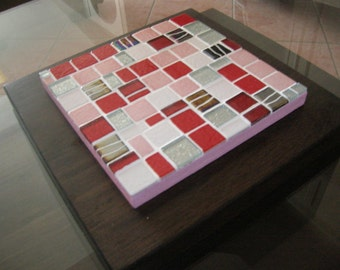 """Flat red mosaic coaster """"red and pink"""""""