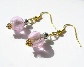 Pink lampwork glass beads earrings