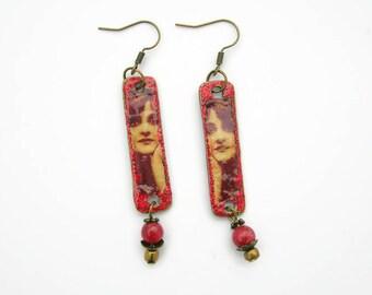 Bronze metal red earrings