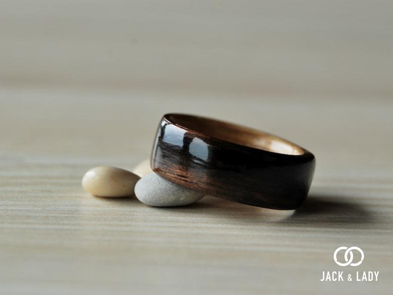 Wooden rings for men \u2022 Mens wooden ring \u2022 Handmade Ebony /& Oak bentwood rings