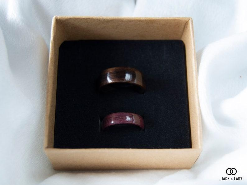 Wooden rings for Couples \u2022 Couples wooden ring \u2022 Handmade Black Ebony /& Purpleheart rings