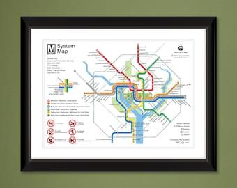 45c5cbd88a92 Washington DC Metro Map (16x12 Heavyweight Art Print)