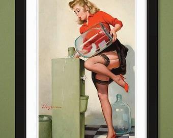 Gil Elvgren – A Refreshing Lift 1970 (12x18 Heavyweight Art Print)