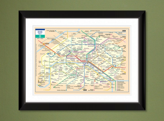 French Subway Map Print.Paris France Mini Metro Subway Map 16x12 Heavyweight Art Print