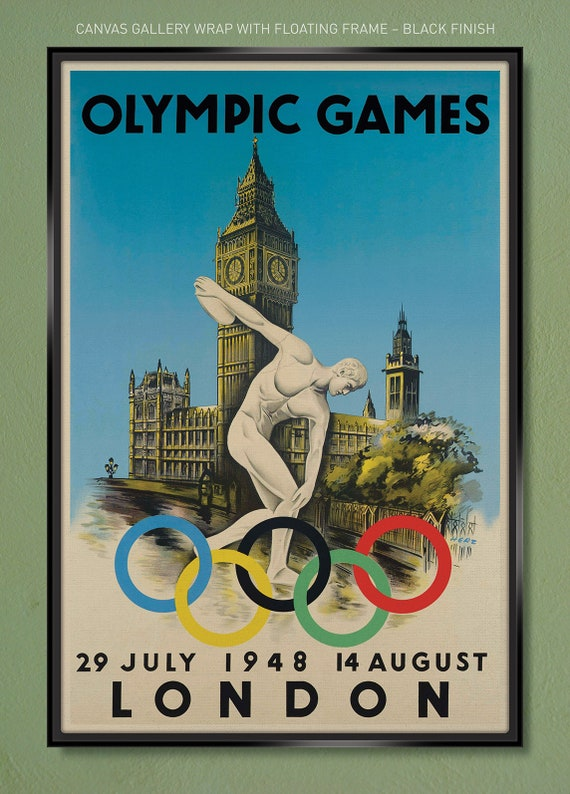 London Olympic Games 1948 24x36 Vintage Style Sports Poster