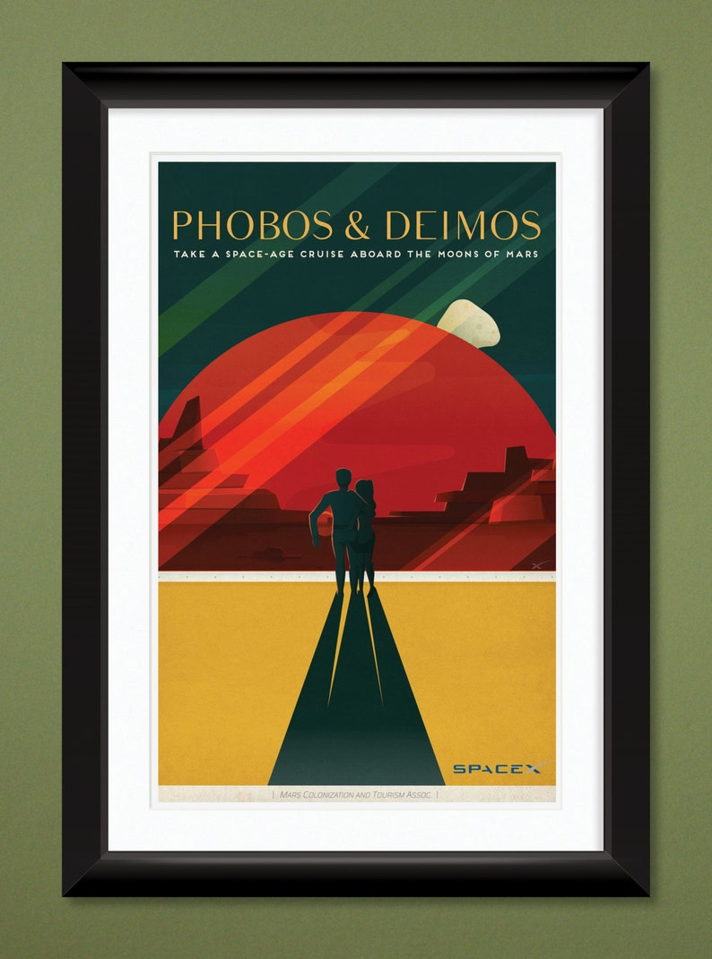 SpaceX Mars travel poster Magnet Valles Mariners