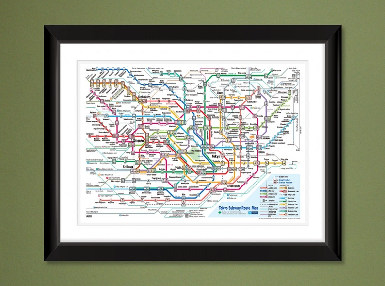 Tokyo Japan Metro Subway Map 16x12 Heavyweight Art Print Etsy