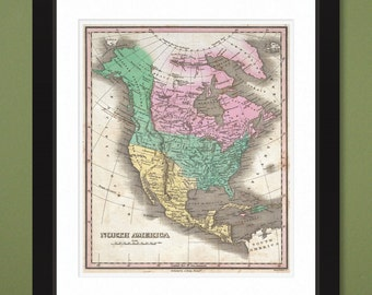 1827 Finley Map of North America – 12x14 Heavy Weight Print