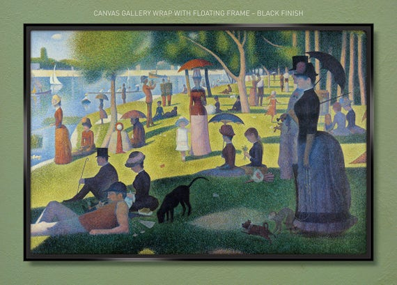 by Georges Seurat 36x24 Poster A River Bank A Sunday Afternoon in the Park