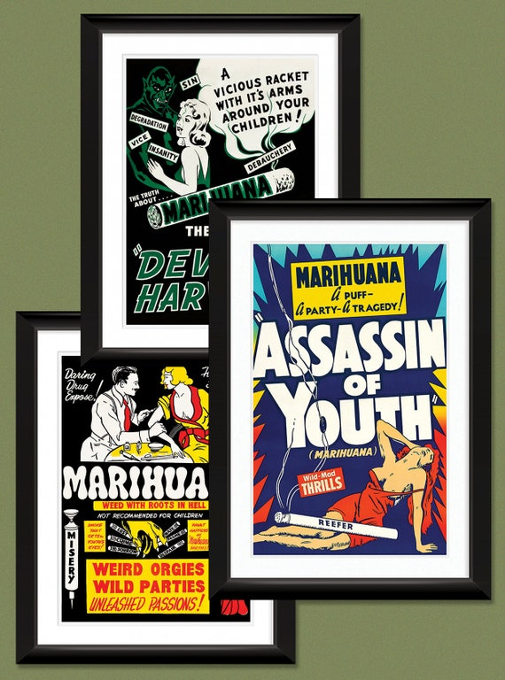 Vintage Marihuana//Marijuana Drug Film Movie Poster reprint Various Sizes