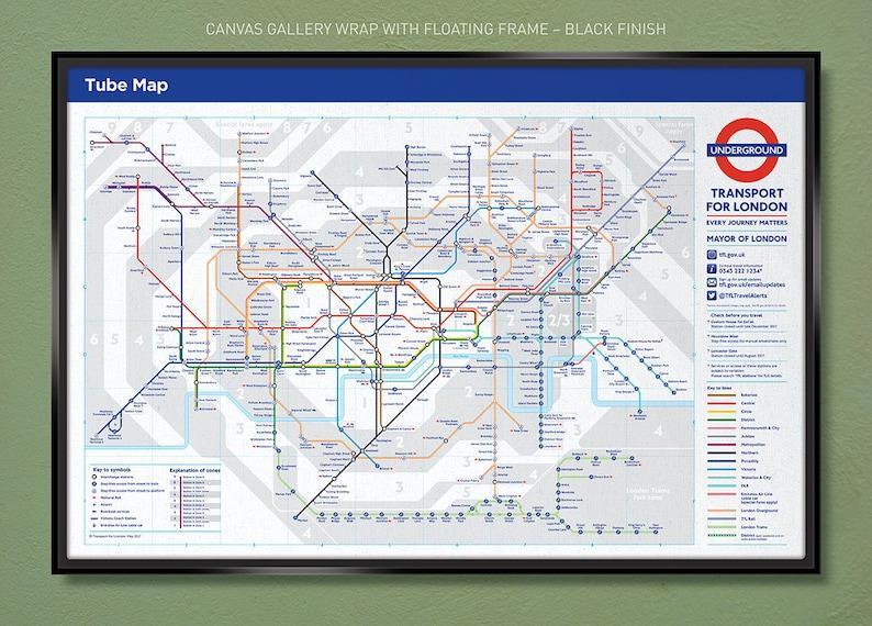 Floating Subway Map.London Tube Subway Map 30x20 36x24 Canvas Wrap W Free Ups Shipping