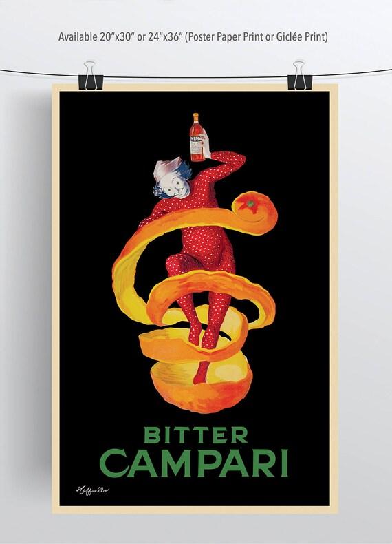 Bitter Campari Cappiello Vintage reproduction Advertisement CANVAS PRINT 24x36in